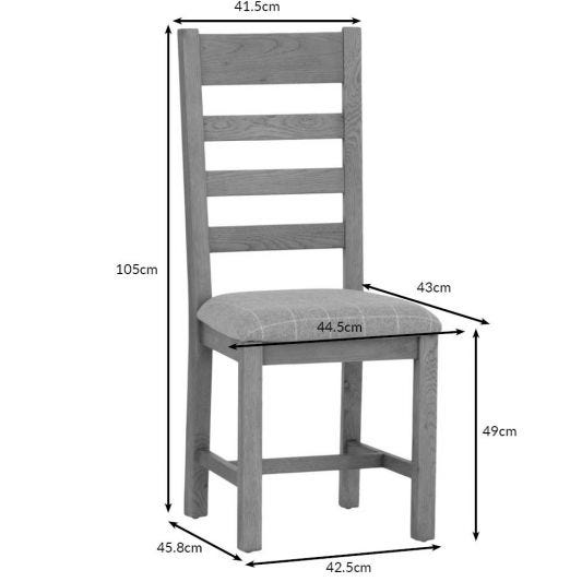 Wessex Smoked Oak Ladder Back Dining Chair With Natural Check Seat