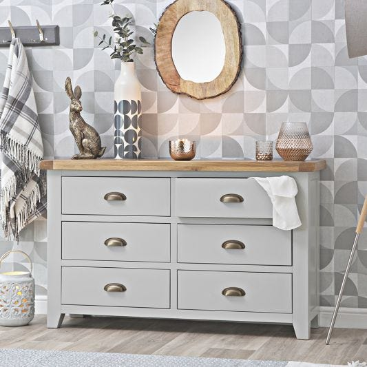 Hampshire Grey Painted Oak Chest of 6 Drawers
