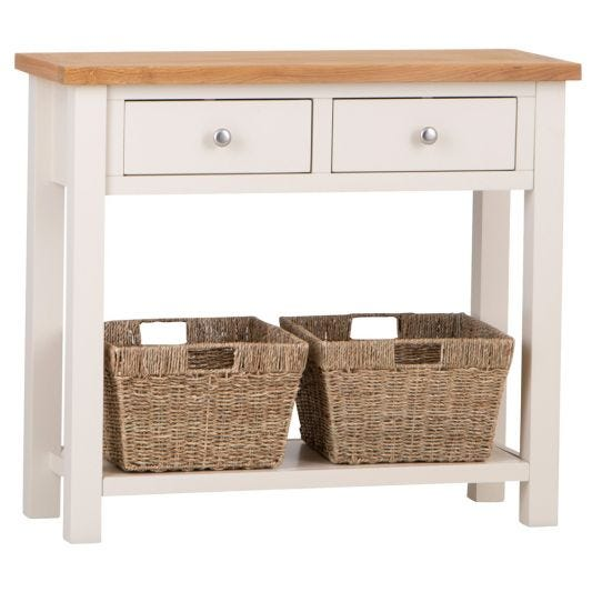 Salisbury Ivory Painted Oak Console Table with Wicker Baskets