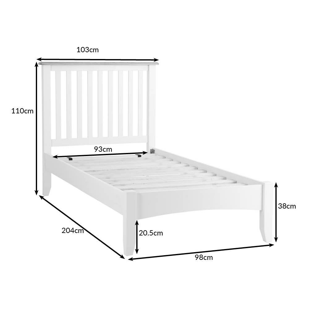 Gloucester White Painted Single Bed Frame