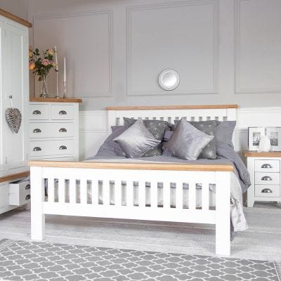 Hampshire White Painted Oak King Size Bed Frame High Foot End
