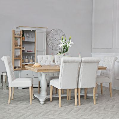Ashbourne Grey Painted 1.8m Double Pedestal Extending Dining Table