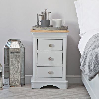 Ashbourne Grey Painted 3 Drawer Narrow Bedside Table