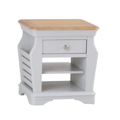 Ashbourne Grey Painted Lamp Table With Magazine Holder