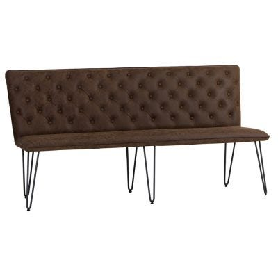 Industrial Brown 180cm Studded Back Bench