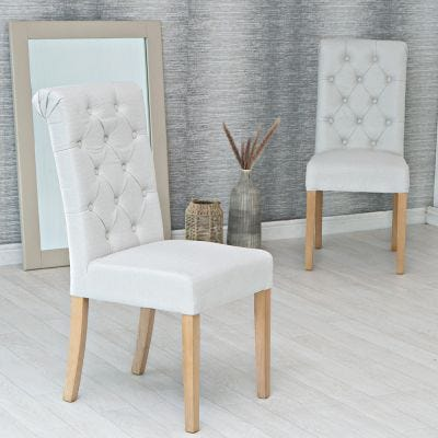 Torino Beige Scroll Button Back Dining Chair
