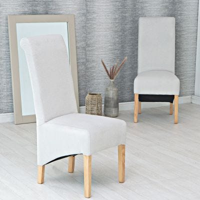 Holcombe Beige Classic Scroll Back Dining Chair