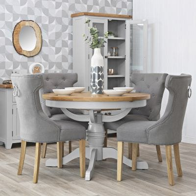 Hampshire Grey Painted Oak Round Pedestal Extending Dining Table
