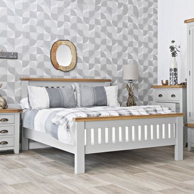 Hampshire Grey Painted Oak Double Bed Frame High Foot End