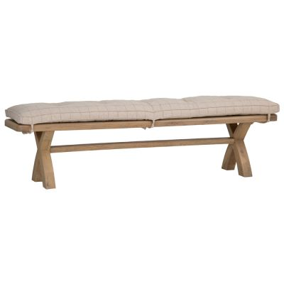 Wessex Smoked Oak Natural Check Cushion for 2.0m Bench
