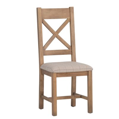 Wessex Smoked Oak Cross Back Dining Chair With Natural Check Seat