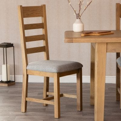 Wessex Smoked Oak Ladder Back Dining Chair With Grey Check Seat