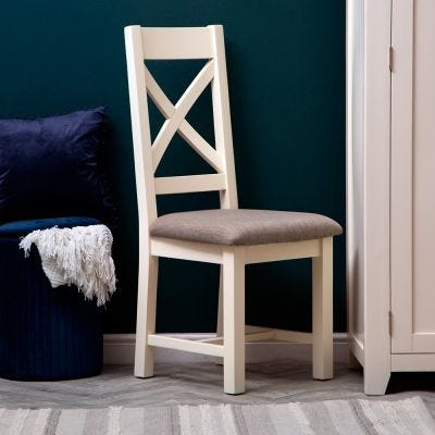 Hampshire Ivory Painted Oak Cross Back Dining Chair Fabric Seat