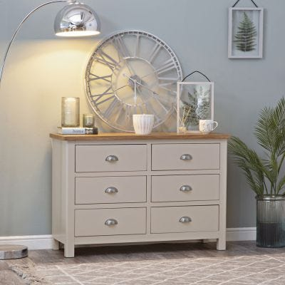 Rutland Painted Oak Chest of 6 Drawers