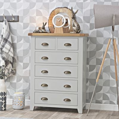 Hampshire Grey Painted Oak 2 Over 4 Chest