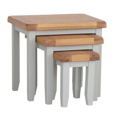 Hampshire Grey Painted Oak Nest of 3 Tables