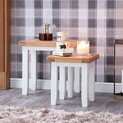 Hampshire White Painted Oak Nest of 2 Tables