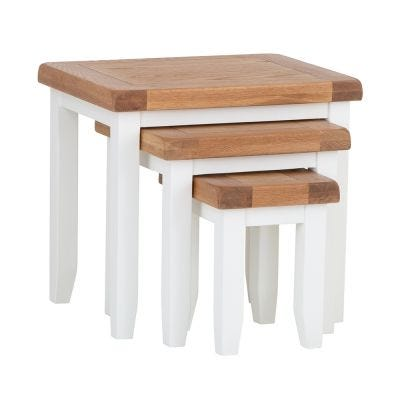 Hampshire White Painted Oak Nest of 3 Tables