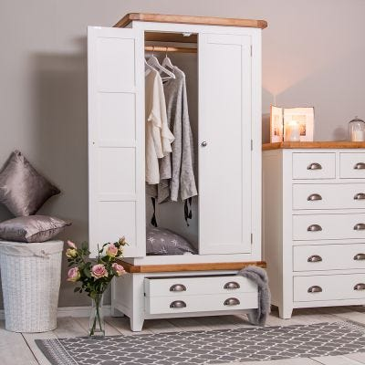 Hampshire White Painted Oak 2 Door Wardrobe with Drawer