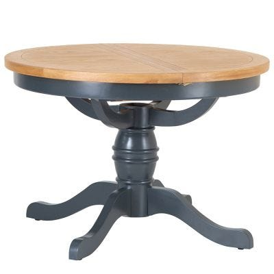 Hampshire Blue Painted Oak Round Pedestal Extending Dining Table