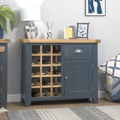 Hampshire Blue Painted Oak Small Sideboard Wine Rack