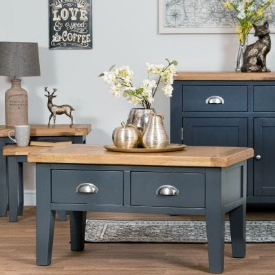 Hampshire Blue Painted Oak Coffee Table With Drawers