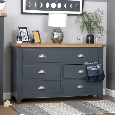 Hampshire Blue Painted Oak Chest of 6 Drawers