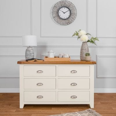 Hampshire Ivory Painted Oak Chest of 6 Drawers