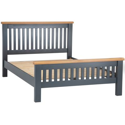 Hampshire Blue Painted Oak Double Bed Frame High Foot End
