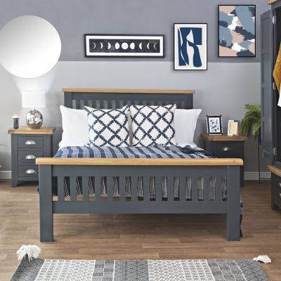 Hampshire Blue Painted Oak King Size Bed Frame High Foot End