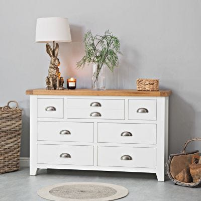 Hampshire White Painted Oak 3 Over 4 Chest