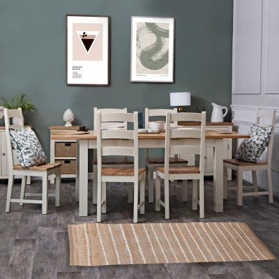 Salisbury Ivory Painted Oak 1.5m Butterfly Extending Dining Table