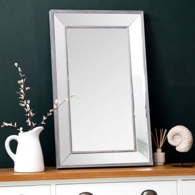 Andorra Small Distressed Frame Bevelled Glass Mirror 61 x 100cm
