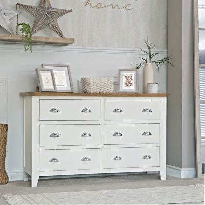 Chester White Painted Oak Chest of 6 Drawers