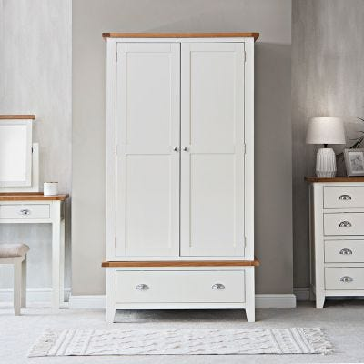 Chester White Painted Oak 2 Door Wardrobe with Drawer