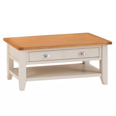 Chester Stone Painted Oak Coffee Table With Drawers
