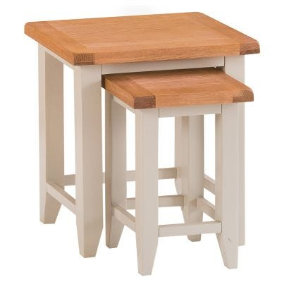 Chester Stone Painted Oak Nest of 2 Tables
