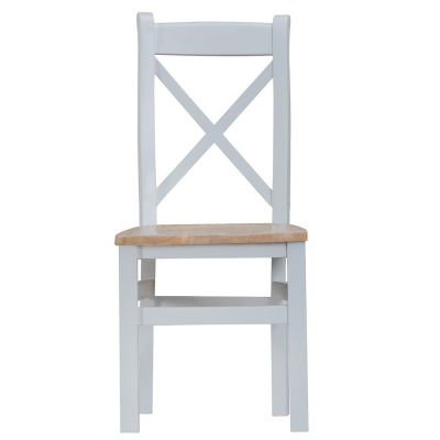 Suffolk Grey Painted Oak Crossback Chair With Wooden Seat