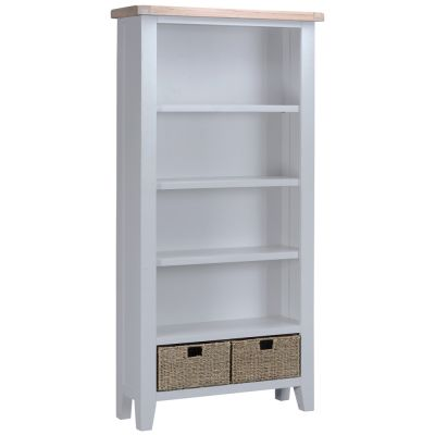 Suffolk Grey Painted Oak Large Bookcase with Wicker Baskets