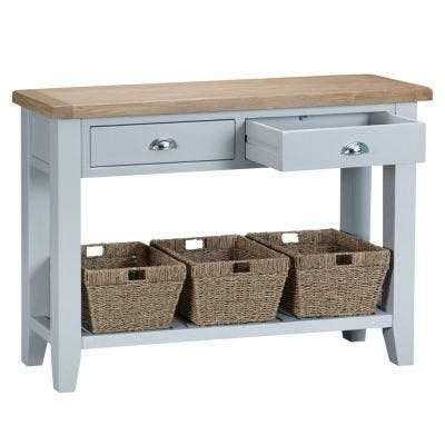 Suffolk Grey Painted Oak Large Console Table with Wicker Baskets