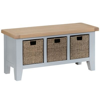 Suffolk Grey Painted Oak Large Hall Bench with Wicker Baskets